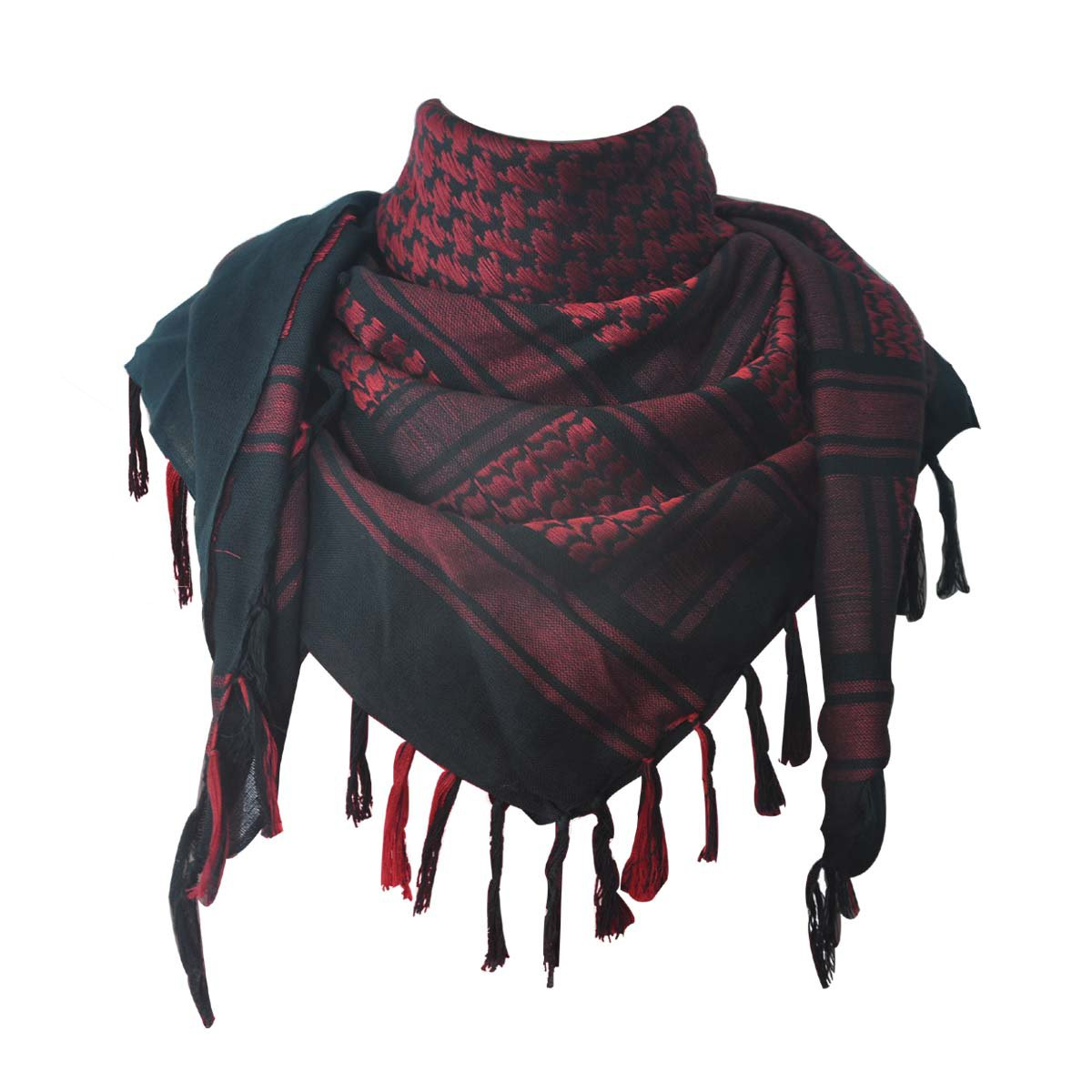 Explore Land 100% Cotton Military Shemagh Tactical Desert Keffiyeh Scarf Wrap (Black and Red)