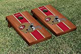 """NFL San Francisco 49ers Rosewood Stained Stripe Version Football Cornhole Game Set, 24"""" x 48"""", Multicolor"""