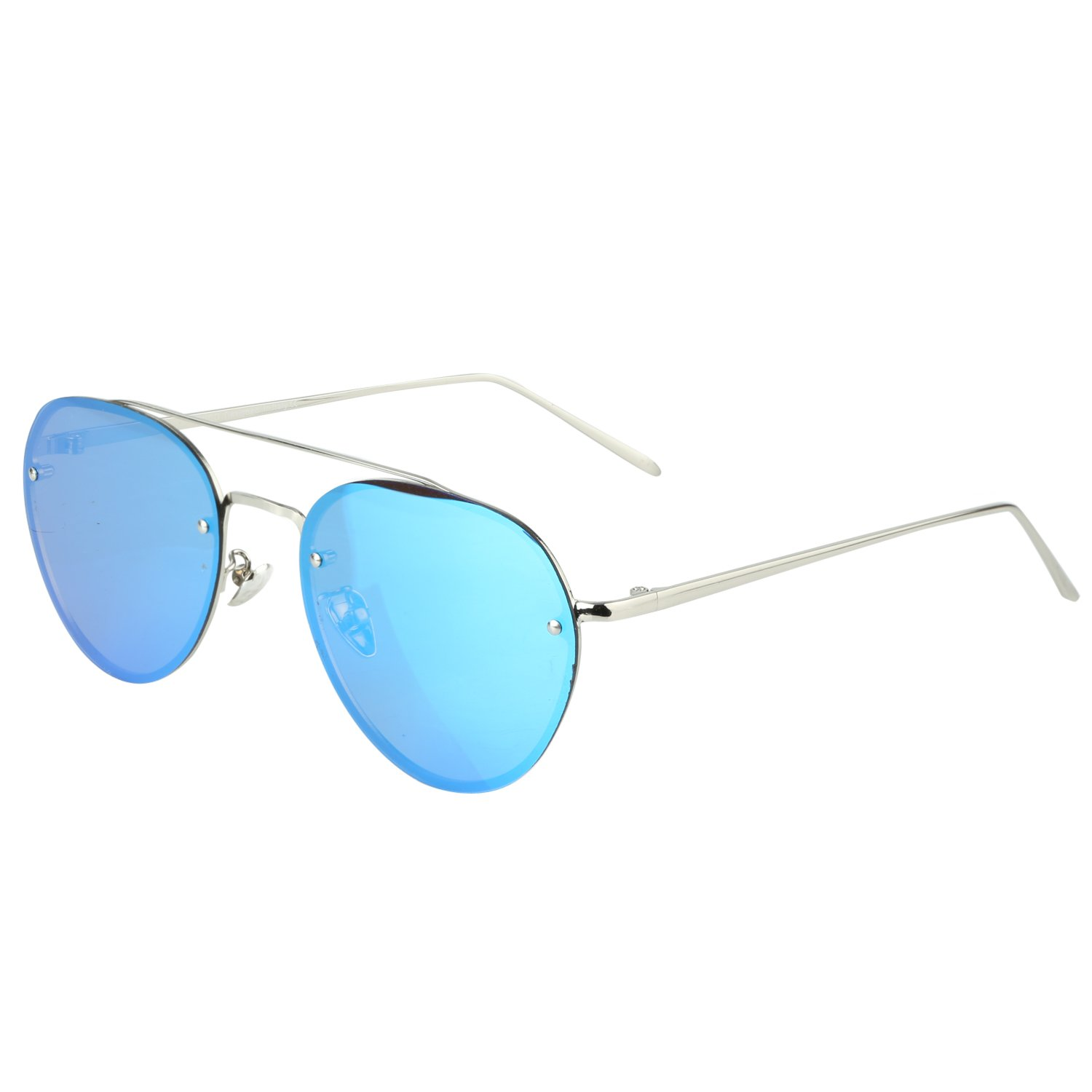 Duco Pilot Style Mirrored Polarized Sunglasses UV400 Men And Women 3025F (Silver Frame Revo Blue Lens, 60) by DUCO