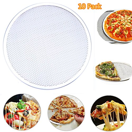 WHOSEE 10-Pack 14-Inch Seamless Aluminum Pizza Screen Baking Tray Metal Net Bakeware Kitchen Tool by Whosee