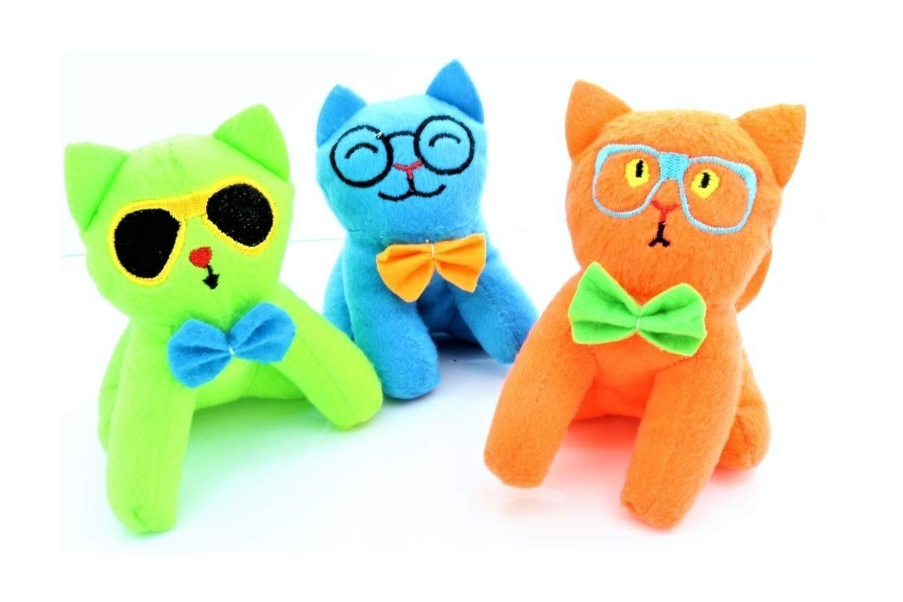 Zugar Land 5 Silly Face Stuffed Cats Neon Colors! 3 Pack