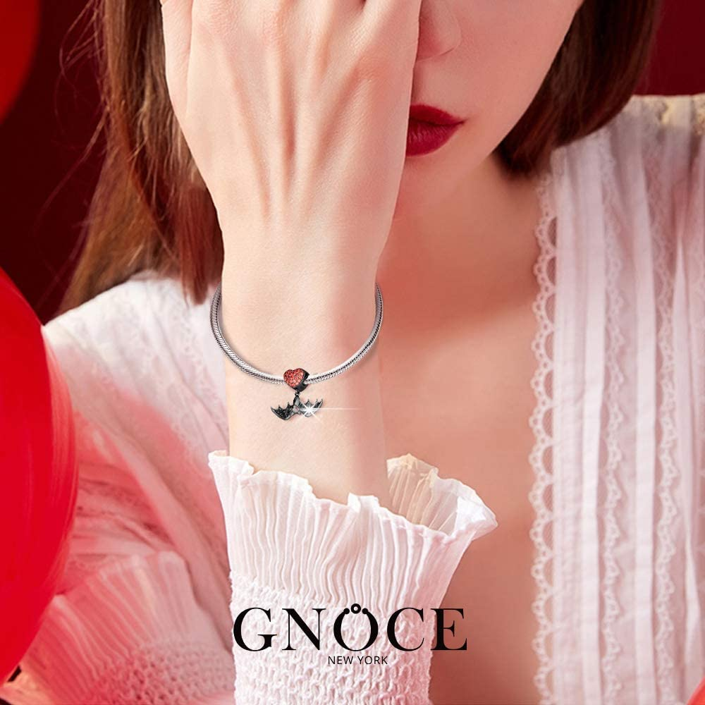 GNOCE Black Bat Charms for Bracelets Sterling Silver with Cubic Zirconi Skull Heart Dangle Charm Beads Fit Bracelet//Necklace Jewelry Gift for Women Girls