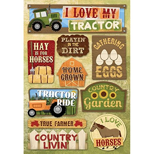 Karen Foster Design Acid and Lignin Free Scrapbooking Sticker Sheet, I Love My Tractor (Tractor Scrapbook Paper)