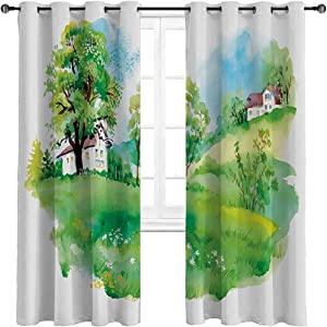 Blackout Drapes Pastoral Countryside View with Houses on The Valley Lily Heidiland Up Back to Nature Paint Noise Reducing Curtains/Drapes Color is Rich and Vibrant (2 Panels, W54 x L84 Inch)
