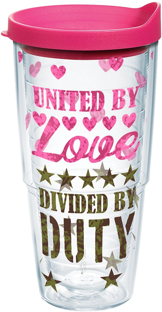 Clear Tervis 1212145 United By Love Tumbler with Wrap and Fuchsia Lid 24oz