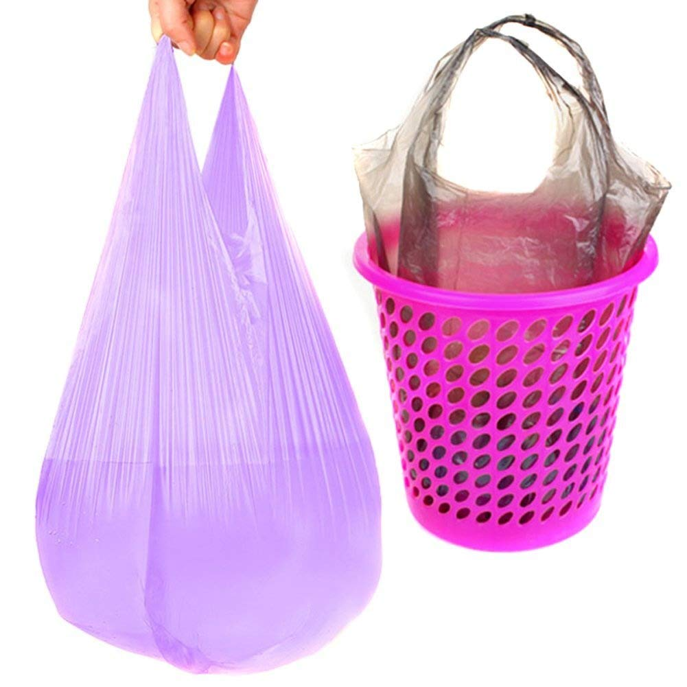 3 Rolls Garbage Bag - Plastic Odorless Thickening Reinforcement Points Off Type Vest Type Portable Bag Environmental Protection Household Garbage Bags for Home And Hotel Color By Random