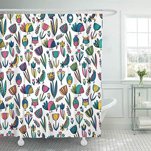 Emvency Decorative Shower Curtain Green Animal Cute Pattern with Tulips and Birds Black Clip Clipart Creative 72