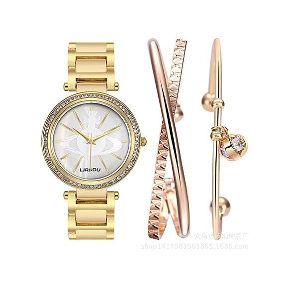 Reloj mujer marca de Luxe Conjunto + pulsera joyas (tres piezas)