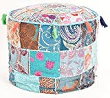 Beautiful HANDMADE Sky Blue Christmas Decorative Bohemian Ottoman Patchwork Ottoman Indian Embroidered Indian Vintage Cotton Round Pouf Foot Stool , Vintage Ottoman Bohemian Decor (Cover Only)