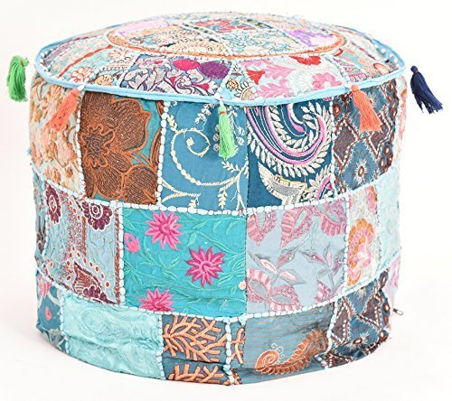 Beautiful HANDMADE Sky Blue Christmas Decorative Bohemian Ottoman Patchwork Ottoman Indian Embroidered Indian Vintage Cotton Round Pouf Foot Stool , Vintage Ottoman Bohemian Decor (Cover Only) by GANESHAM