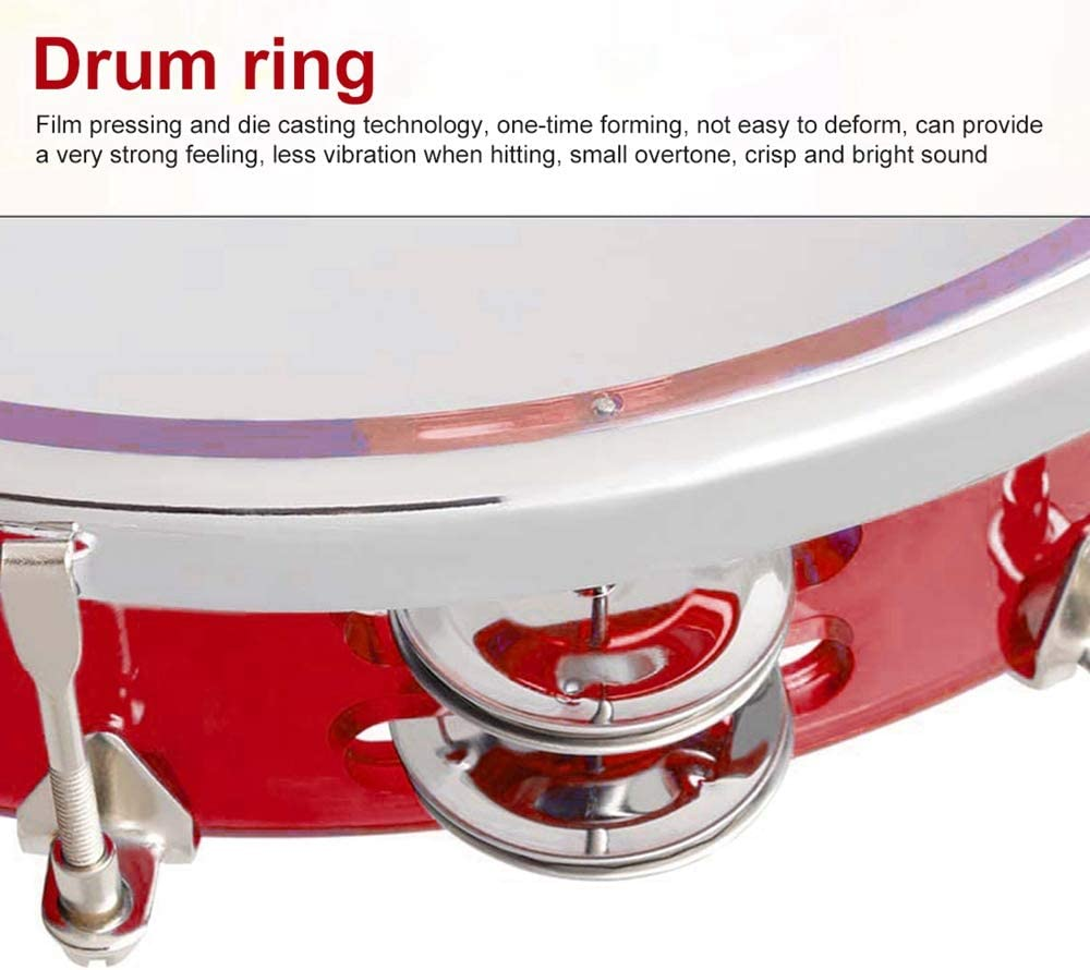 Handheld Compact Tambourine Drum Metal Jingles Bell for Church Musical Educational Toy Instrument 2 Rows 10 inch None brand Tunable Tambourine for Adults and Kids