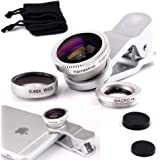 Yarrashop® 3 in 1 Mobile Phone Camera Lens Kit 180 Degree Fish Eye Lens + Macro Lens + Super Wide Angle Lens for iPhone 7,iPhone 6s / 6s Plus, iPhone 6 / 6 Plus, iphone 5 5S , iPad mini, iPad 5, iPad Pro,Samsung Galaxy S7/S7 Edge, S6 / S6 Edge,S5, Note 5 , Sony And other Cell phones (Silver)