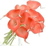 FiveSeasonStuff 10 pezzi Qualità Tocco Realistico Calla Lilies Artificiale Mazzo di Fiori, Ideale per Matrimoni, Sposa, Partito, Casa, Studio Décor Fai da te (Anguria)