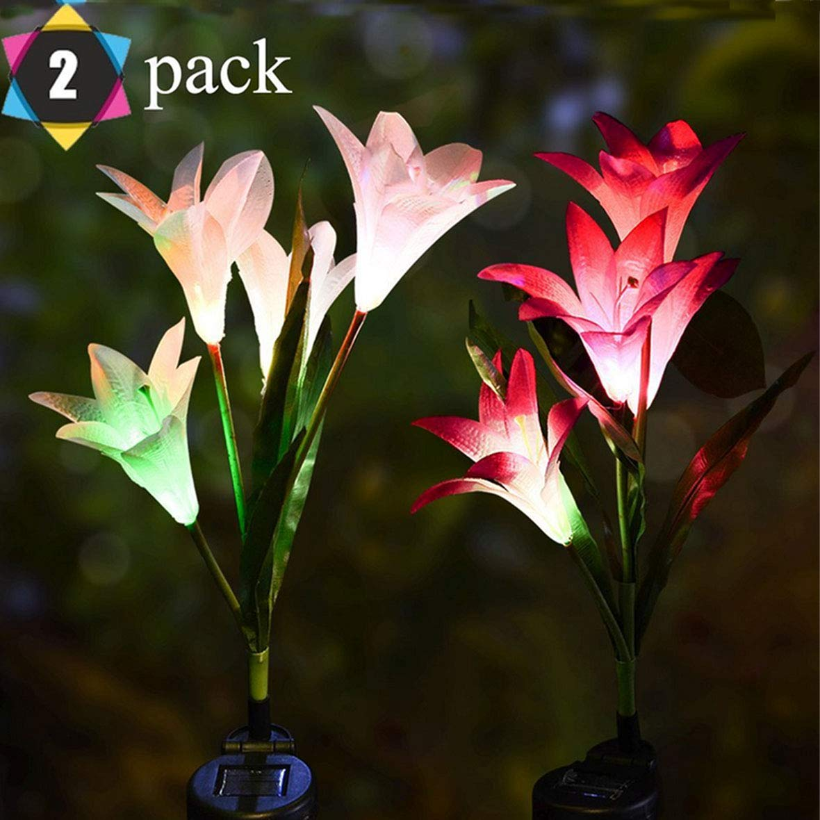Outdoor Solar Lights, Solar Garden Lights - 2 Pack Lily Solar Powered Flower Lights Stake Lights for Garden Decorations, Patio,Yard Decoration, Multi-Color Changing Lawn Solar Lights Solar Panel by Meas