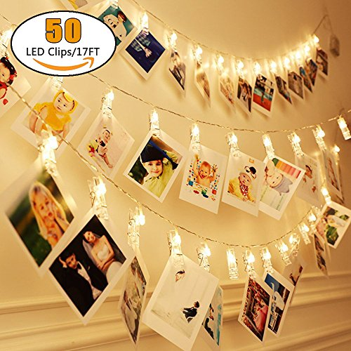 MZD8391 [Upgraded] 50 Photo Clips String Lights/Holder, Indoor Fairy String Lights for Hanging Photos Pictures Cards and Memos, Ideal gift photo clip holder for Dorms Bedroom Decoration (Warm White) (Tree Decorate Small Christmas)