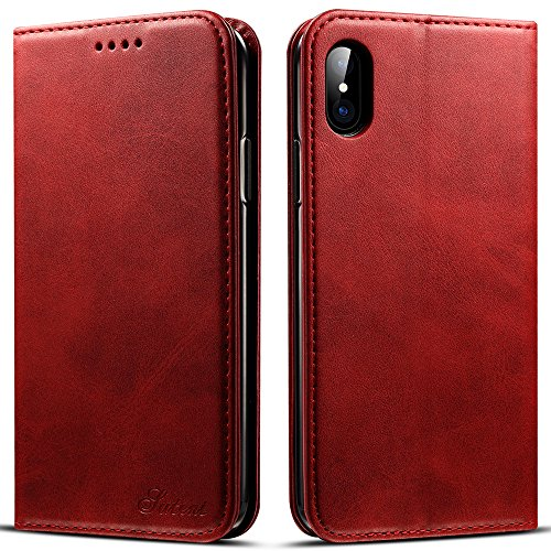 Iphone X, 5.8 inches, PU Leather Wallet Phone Case Iphone Case with Card Holder Kickstand Protective Flip Cover Red - Women X