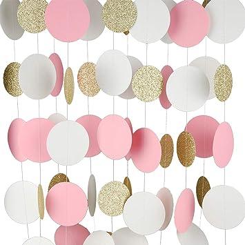 Guirnalda de papel MerryNine, pack de 5 unidades ,15 m. Decoración de guirnalda con purpurina y lunares, papel Banner para fiestas de nacimiento, ...