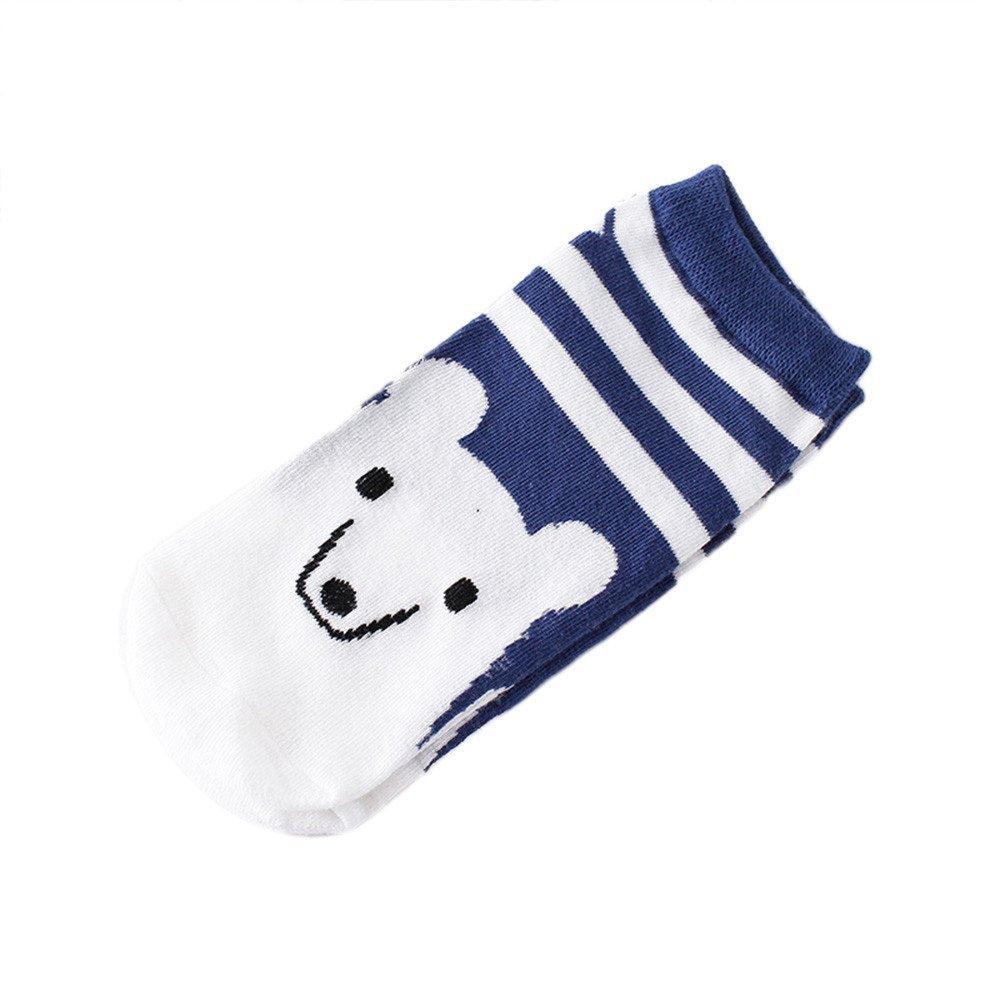 Girls Women Cartoon Slippers Short Ankle Socks, Kids Cute Stripe Warm Breathable Sport Socks (White)