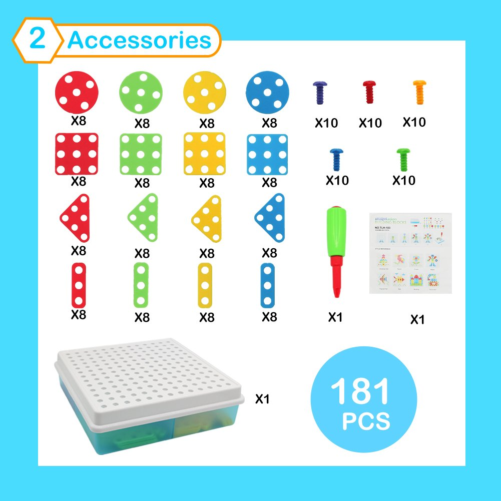 Mosaic Puzzle Pegboard for Kids Construction Games Building Blocks DIY Play Set with Screw Nuts Tools Montessori Learning Toys Gifts for Kids 3 Year Old Toys