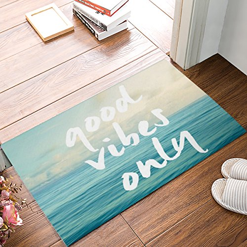 CHARMHOME Blue Sea Art with Funny Good Vibes Only Quotes Doormat Door Mat Rug Indoor/Floor Mat Rug for Home/Office/Bedroom