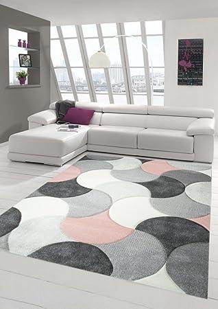 Designer und Moderner Teppich Kurzflor mit Tropfen Muster in Rosa ...