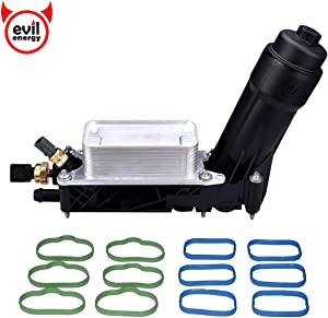 EVIL ENERGY Engine Oil Cooler and Filter Housing Adapter gaskets Sensor Kit Replace 5184294AE Fit for 2011-2013 Chrysler 200/300 Dodge Jeep Ram 3.6L Aluminium Silver