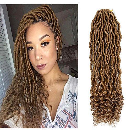 6Packs Goddess Locs Crochet Braids Blonde Wavy Faux Locs Crochet Hair Curly Ends Dreadlocks Synthetic Braiding Hair Extensions (18