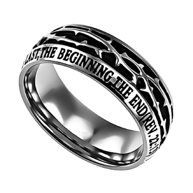 Revelation 22 13 Crown of Thorns Ring Stainless Steel Christian