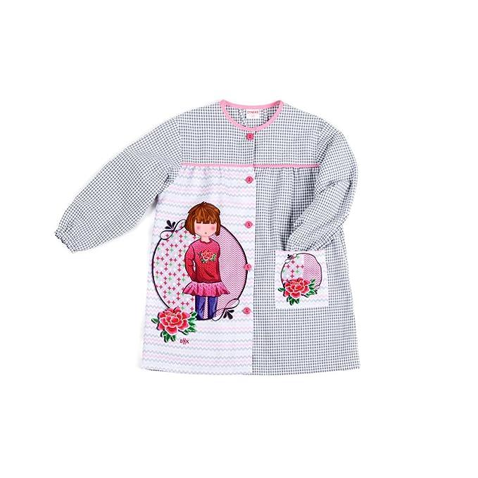 Dyneke Bata escolar botón Niña Flor (personalización opcional gratuita con nombre bordado) (Talla
