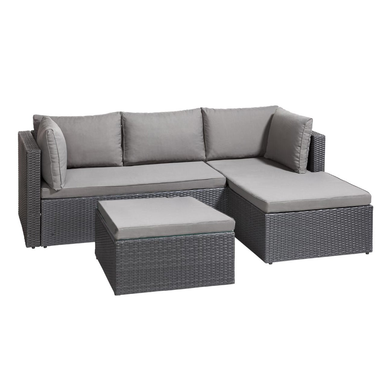 gartenlounge polyrattan outliv basel g nstiges lounge set 3tlg ecklounge grau loungem bel. Black Bedroom Furniture Sets. Home Design Ideas