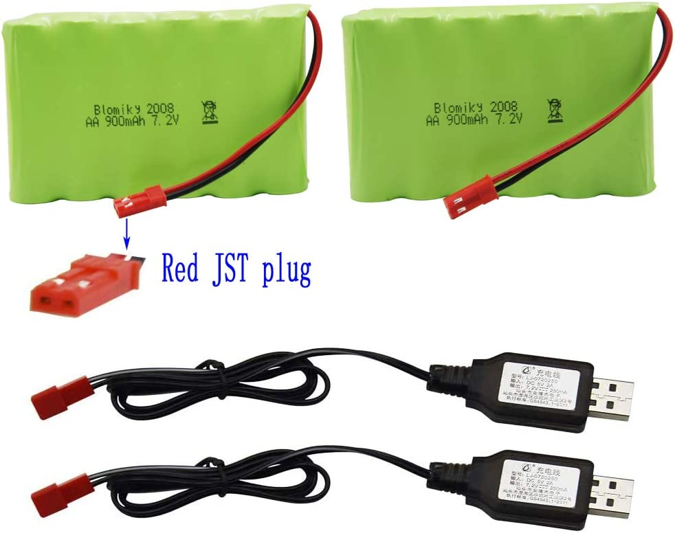 2 Baterias 7.2V 900mAh 6 Cell AA y cable cargador USB