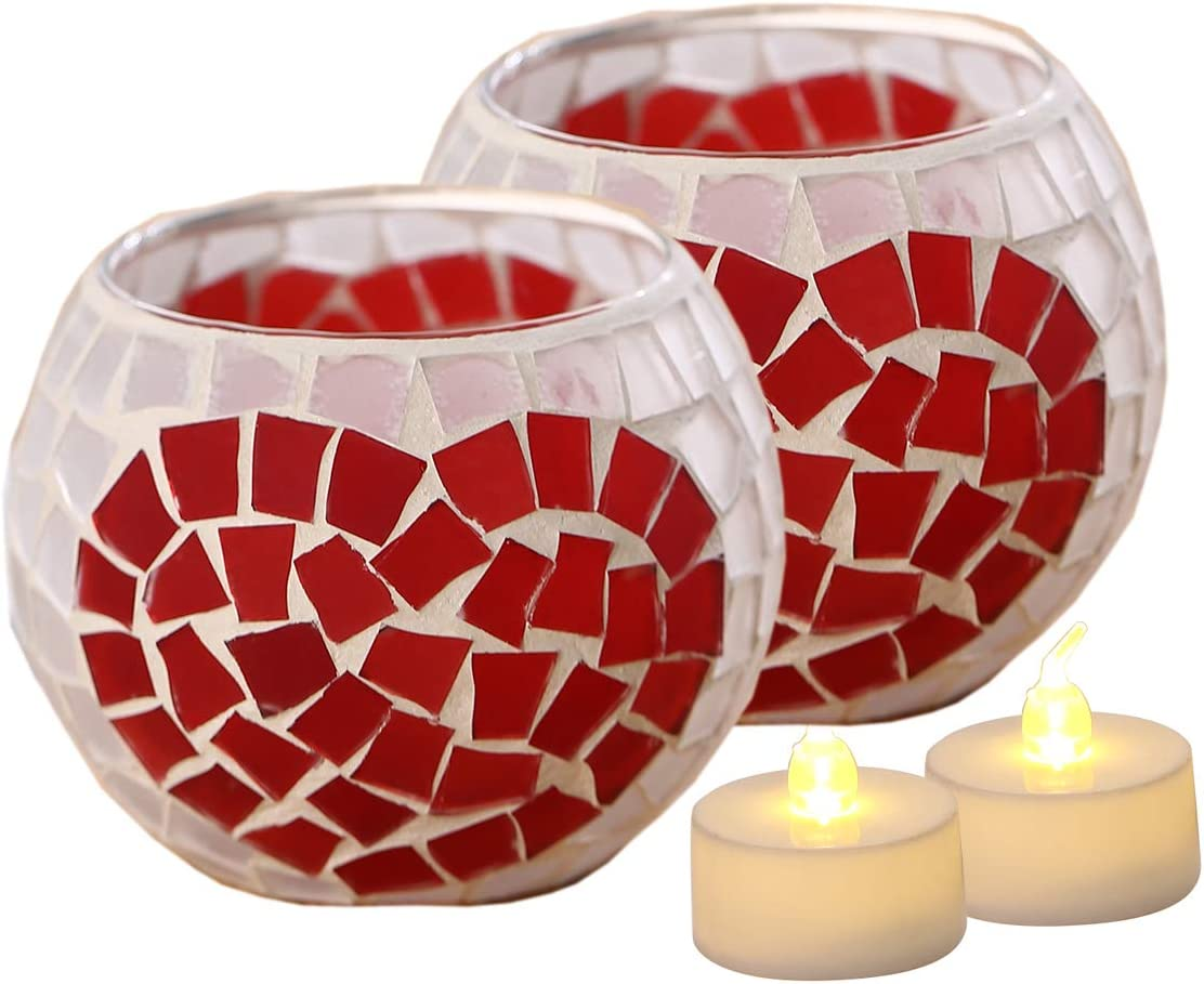 Votive Candle Holder Centerpiece, Mosaic Glass Tealight Holders for Home Decor, Table, Party Decorations, Handmade Gifts for Her, Vase for Potted Plants Bowl, Set of 2 (Heart Mosaic x 2)