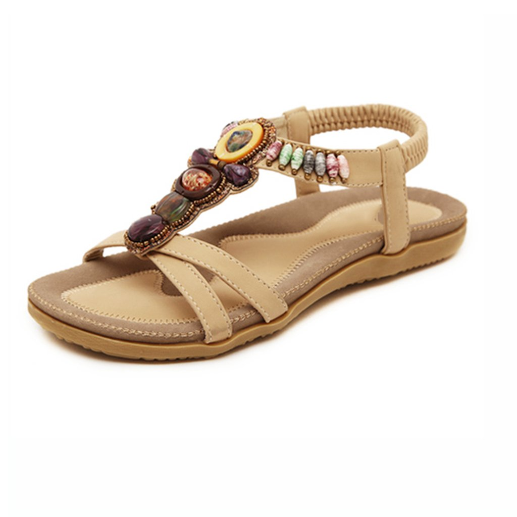 c0a8f92ac2631 Sandals Boho Beach Slippers Women s Flat Heel Shoes Peep-Toe Beach Shoes Women s  Summer Rhinestone Sandals Beige (Color   Apricot
