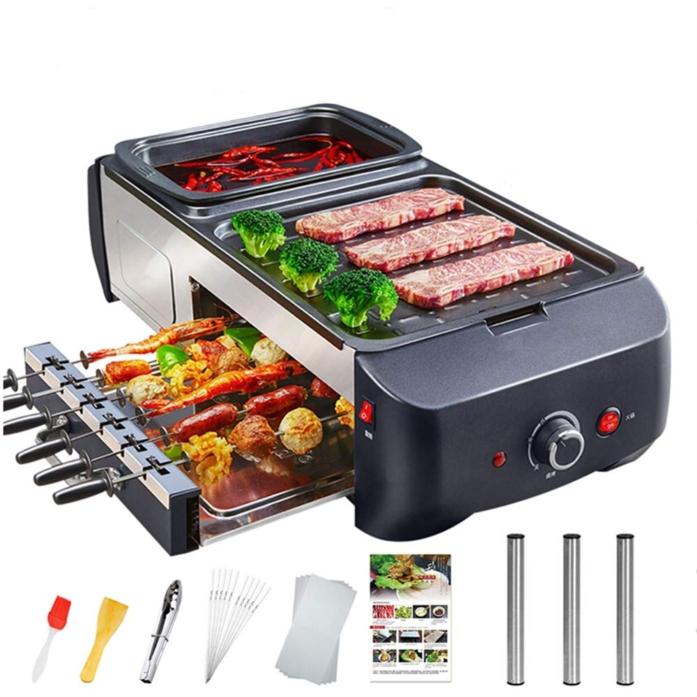 WEIFLY Indoor Electric Non-Stick Grill Adjustable Thermostat, Electric Grill Indoor Hot Pot Multifunctional Easy Clean Design,Capacity for 5 People