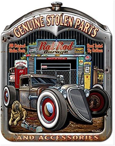 Genuine Stolen Car Parts Tin Metal Poster Sign  Garage Speed Shop Man Cave Decor