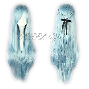 COSPLAZA Peluca para disfraz, de cabello largo azul de Asuna de Sword Art Online