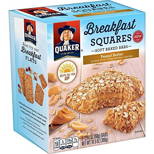 Quaker Breakfast Squares, Soft Baked Bars, Peanut Butter, 5 Bars (Pack of 8)