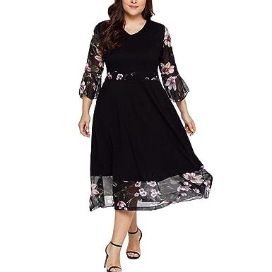 Besooly Women Midi Dress V Neck Wrap Chiffon Floral Long Sleeve Dress Plus Size Dress Prom