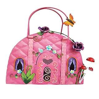 Fountasia Cute Fairy Pink Handbag House Metal Garden Ornament Perfect For Fairy Gardens