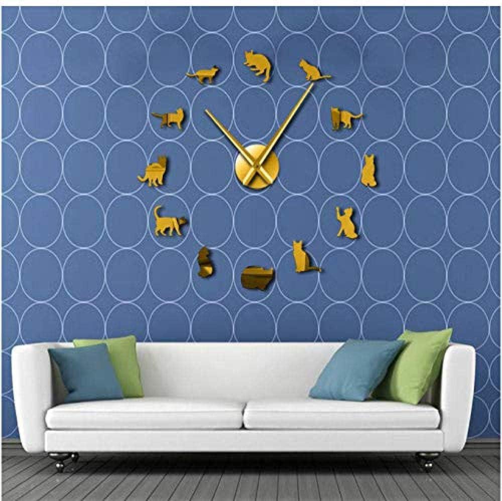 Silueta Gatos Arte de la pared Gatitos Reloj de pared gigante ...
