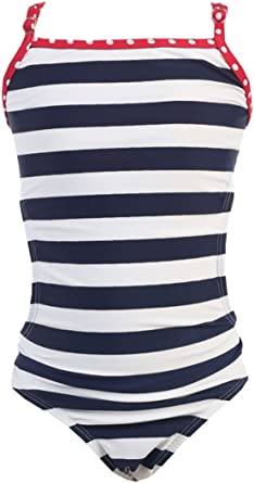 Girls Navy White Stripes Swimwear 1 PC