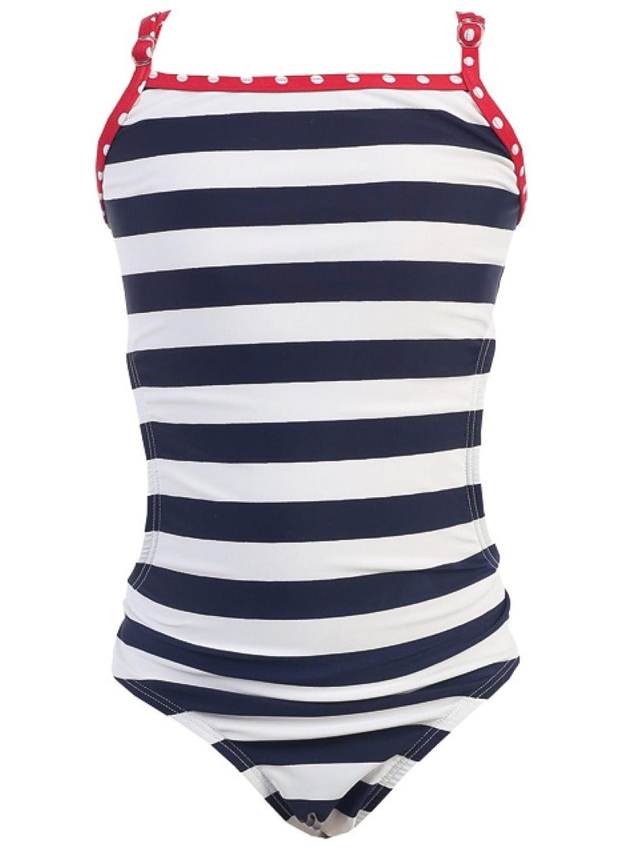 1 PC. Girls' Navy White Stripes Swimwear