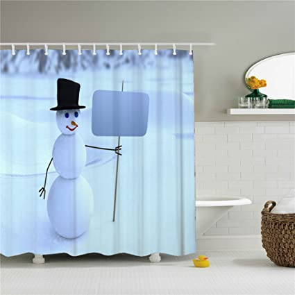 Amazon Christmas Snowman Decor Shower Curtain Sets With Rugs
