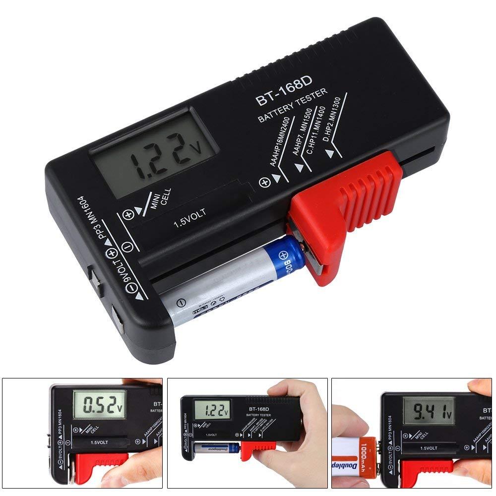 Etmury Testeur de piles num/ériques testeur de batterie universel pour piles 1,5 V et 9 V AA AAA C D 9 V 1,5 V