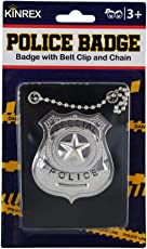 KINREX Police Badge Holder Toy Costume for Kids - Halloween Pretend Play Dress Up Cop with Chain and Black Belt Clip