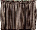 IHF New Cambridge Black with Tan Color Kitchen/Cafe Curtain Tier Window 72