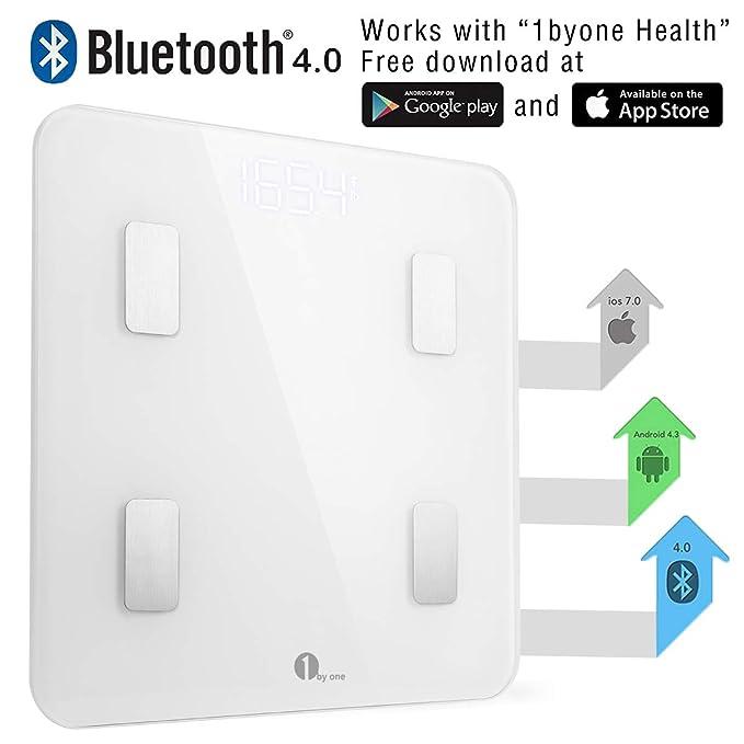 1 BY ONE - Báscula Corporal Digital Bluetooth para administrar el peso corporal, grasa corporal, agua, músculos, IMC, BMR, masa ósea y grasa visceral, ...