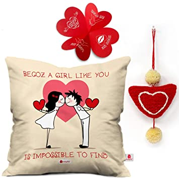 Indigifts Valentine Gifts For Girlfriend Love Quote Cushion Cover 16quotx16quot 1 Heart