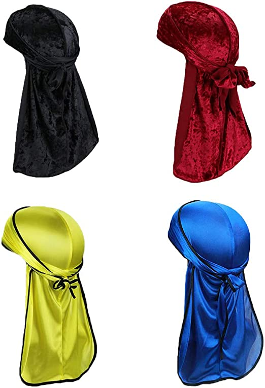Men Women Silky Durags Turban Hat Bandanas Rose Floral Print Satin Long Tail Cap