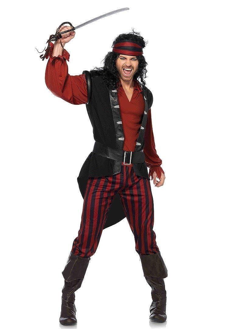 Men's Pirate Captain Scurvy 4-Piece Halloween Costume Set - DeluxeAdultCostumes.com